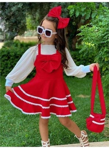 Riccotarz Kız Çocuk Bluzlu Çantalı Kırmızı Elbise Kırmızı
